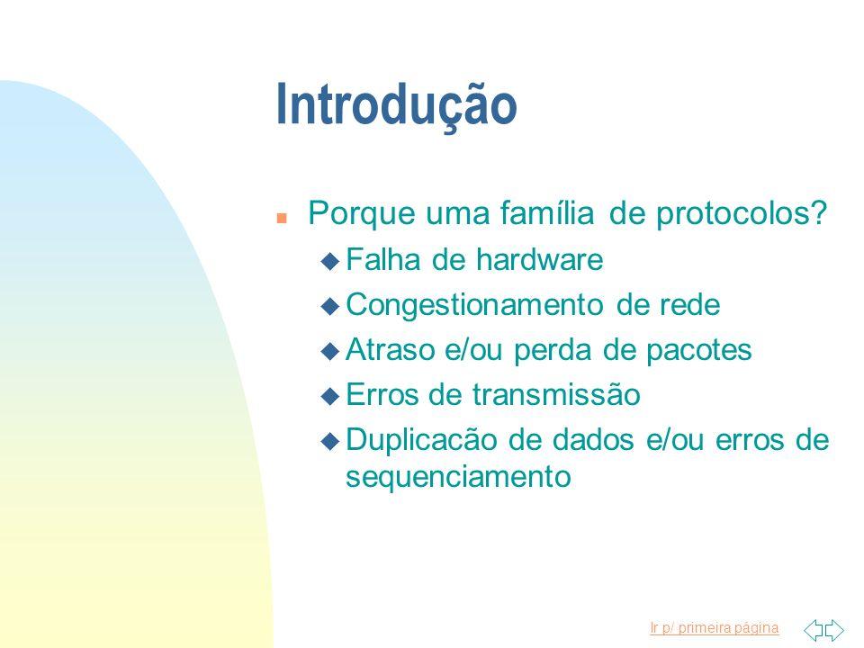 Ir p/ primeira página Introdução n Porque uma família de protocolos? u Falha de hardware u Congestionamento de rede u Atraso e/ou perda de pacotes u E