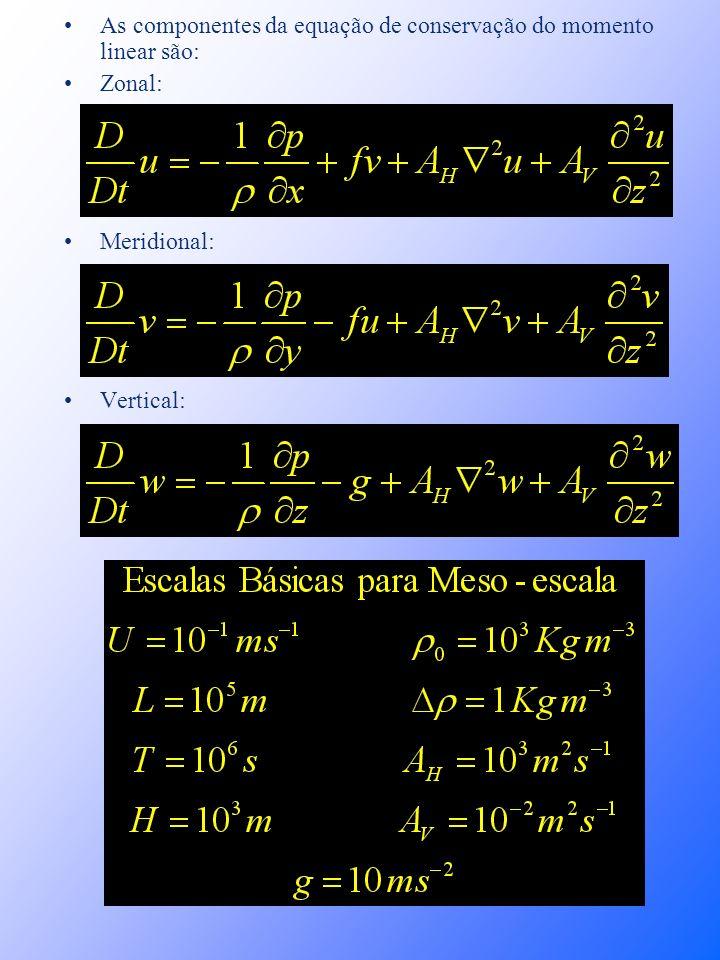 As componentes da equação de conservação do momento linear são: Zonal: Meridional: Vertical: Ilson C. A. da Silveira e André C. K. Schmidt - 2001