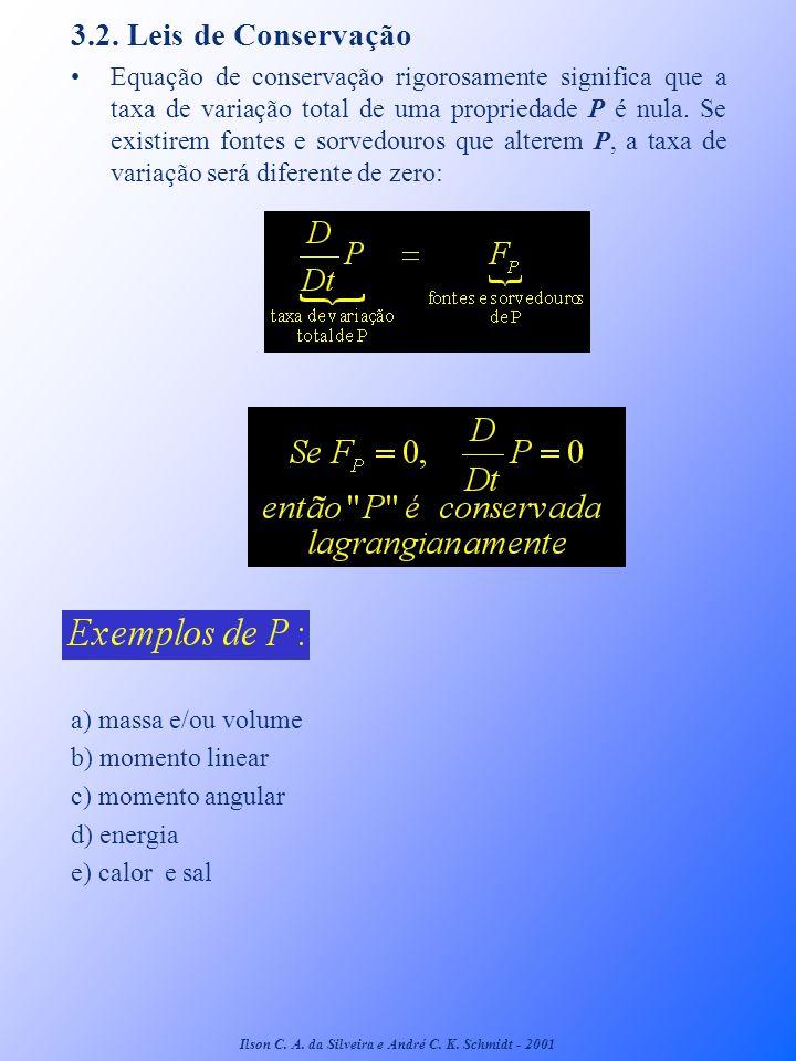 3.2. Leis de Conservação Equação de conservação rigorosamente significa que a taxa de variação total de uma propriedade P é nula. Se existirem fontes
