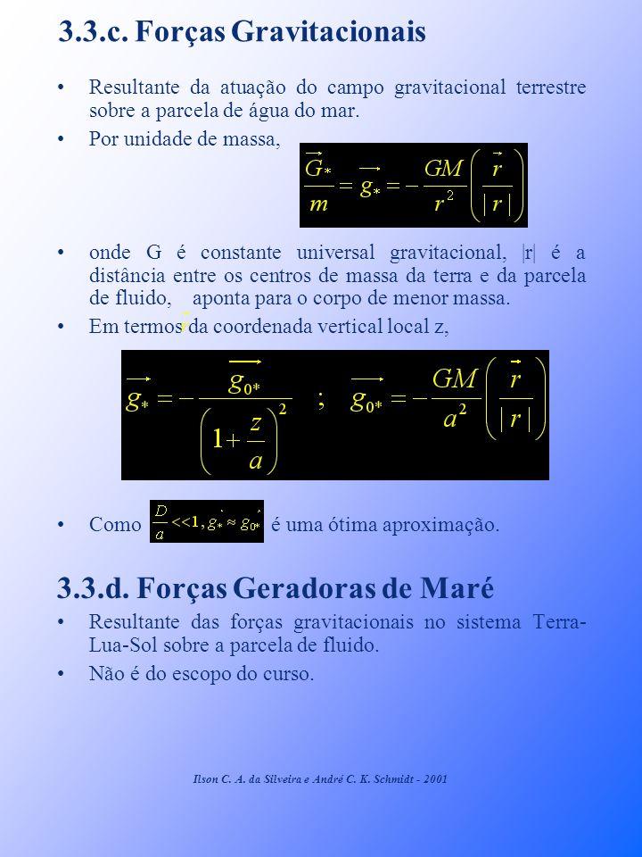 3.3.c. Forças Gravitacionais Resultante da atuação do campo gravitacional terrestre sobre a parcela de água do mar. Por unidade de massa, onde G é con