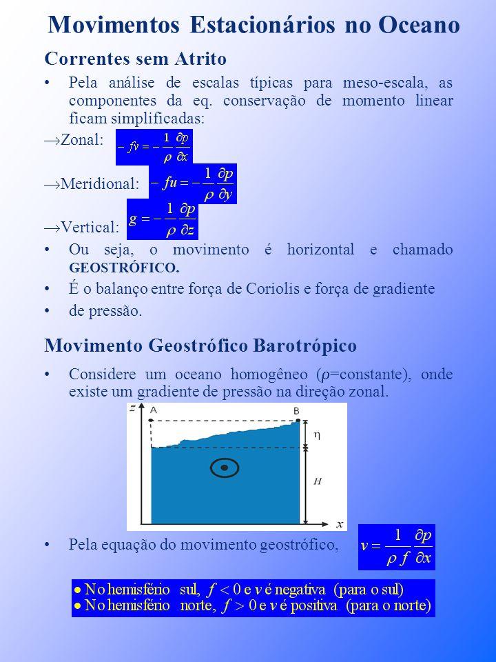 Movimentos Estacionários no Oceano Correntes sem Atrito Pela análise de escalas típicas para meso-escala, as componentes da eq. conservação de momento