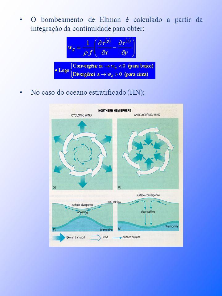 O bombeamento de Ekman é calculado a partir da integração da continuidade para obter: No caso do oceano estratificado (HN);