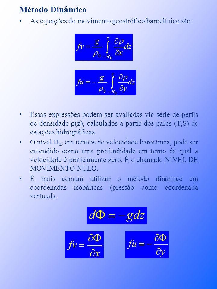 Método Dinâmico As equações do movimento geostrófico baroclínico são: Essas expressões podem ser avaliadas via série de perfis de densidade (z), calcu
