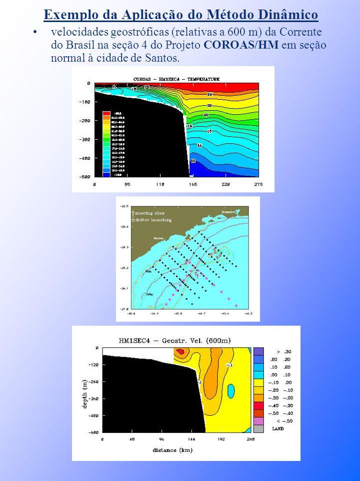 Exemplo da Aplicação do Método Dinâmico velocidades geostróficas (relativas a 600 m) da Corrente do Brasil na seção 4 do Projeto COROAS/HM em seção no