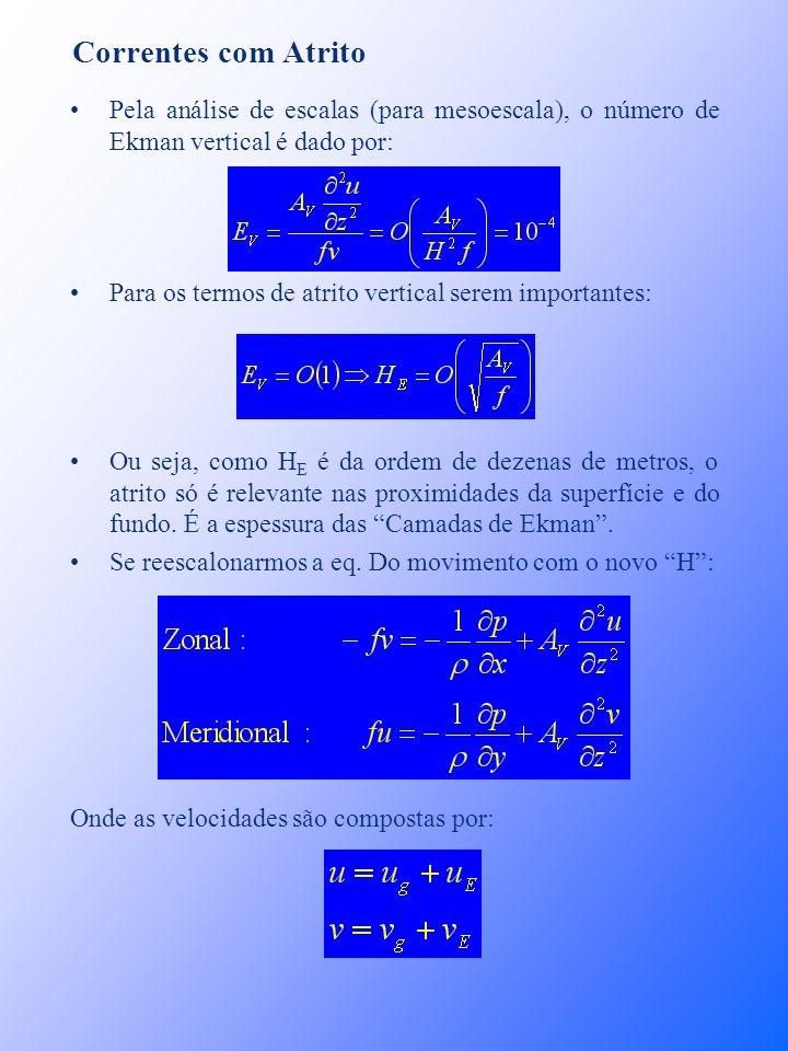 Correntes com Atrito Pela análise de escalas (para mesoescala), o número de Ekman vertical é dado por: Para os termos de atrito vertical serem importa