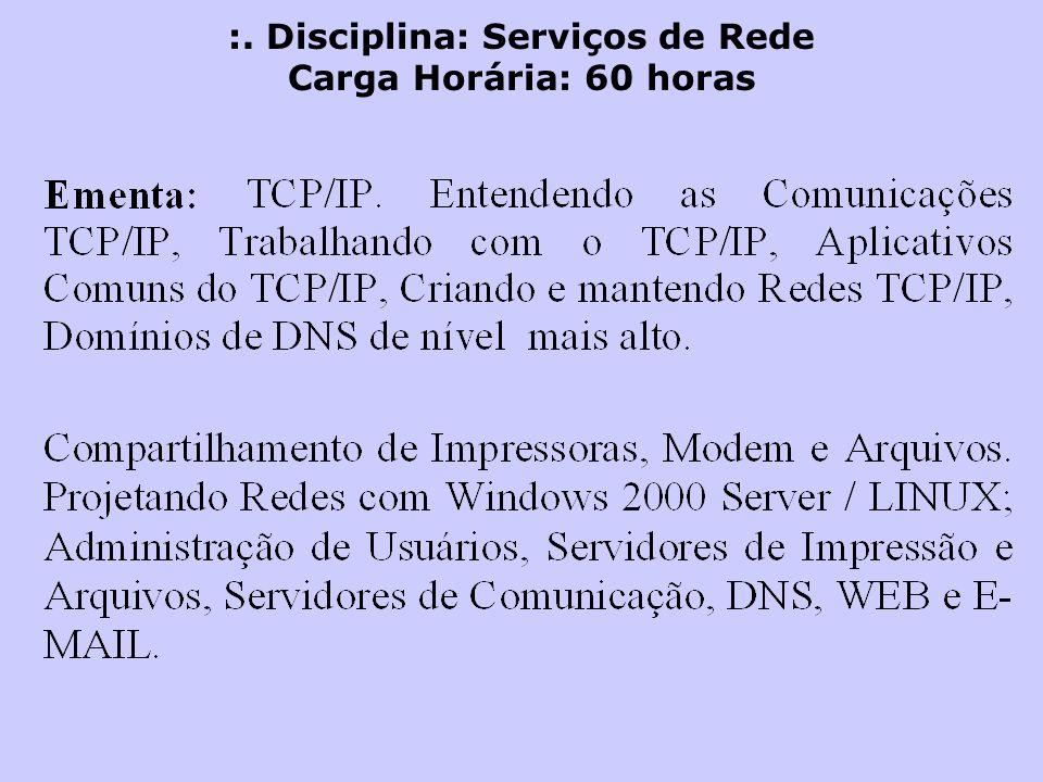 :. Disciplina: Serviços de Rede Carga Horária: 60 horas