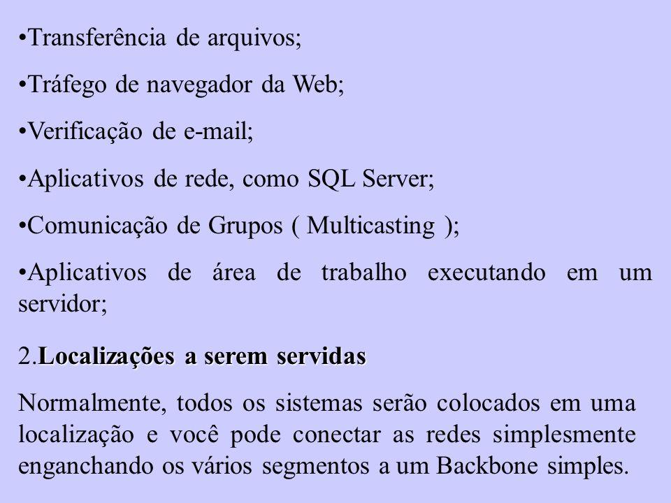Transferência de arquivos; Tráfego de navegador da Web; Verificação de e-mail; Aplicativos de rede, como SQL Server; Comunicação de Grupos ( Multicast