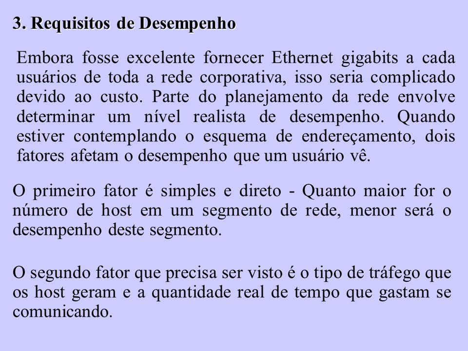 3. Requisitos de Desempenho Embora fosse excelente fornecer Ethernet gigabits a cada usuários de toda a rede corporativa, isso seria complicado devido