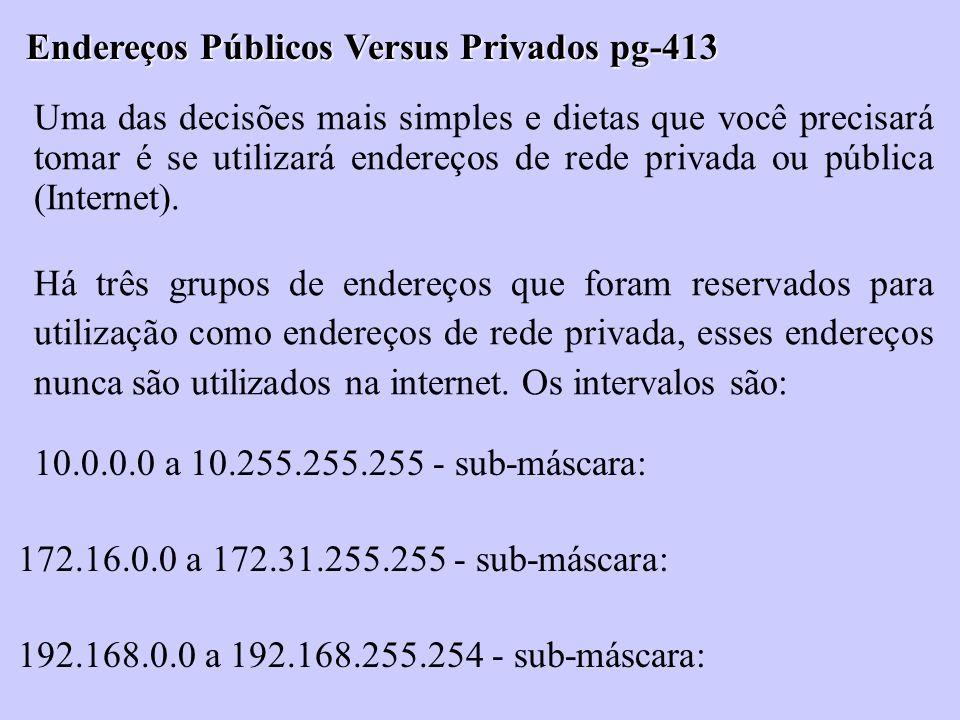 Endereços Públicos Versus Privados pg-413 Uma das decisões mais simples e dietas que você precisará tomar é se utilizará endereços de rede privada ou