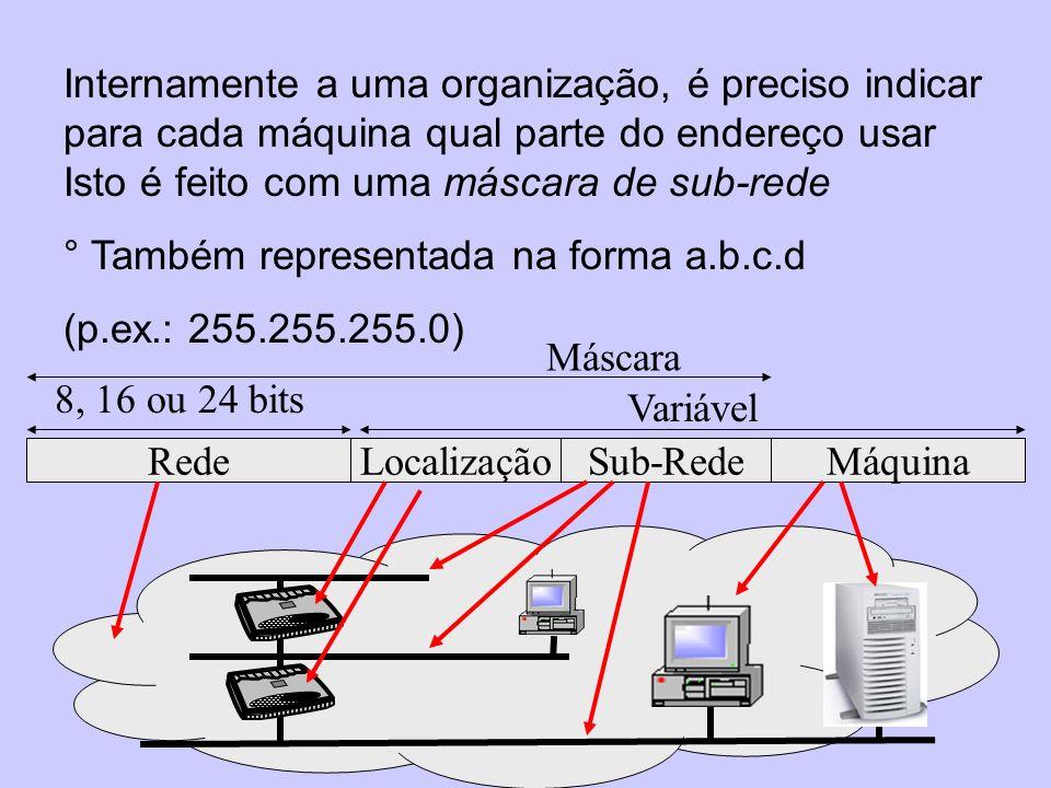 Internamente a uma organização, é preciso indicar para cada máquina qual parte do endereço usar Isto é feito com uma máscara de sub-rede ° Também repr