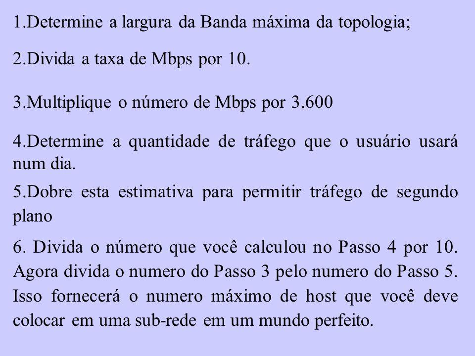 1.Determine a largura da Banda máxima da topologia; 2.Divida a taxa de Mbps por 10. 3.Multiplique o número de Mbps por 3.600 4.Determine a quantidade