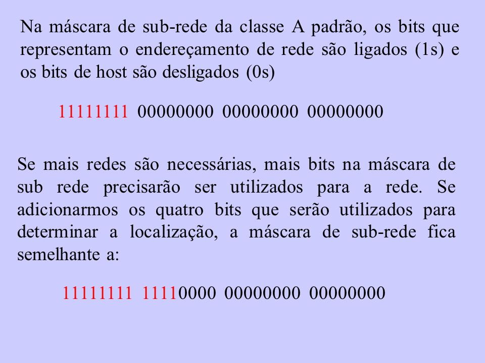 Na máscara de sub-rede da classe A padrão, os bits que representam o endereçamento de rede são ligados (1s) e os bits de host são desligados (0s) 1111