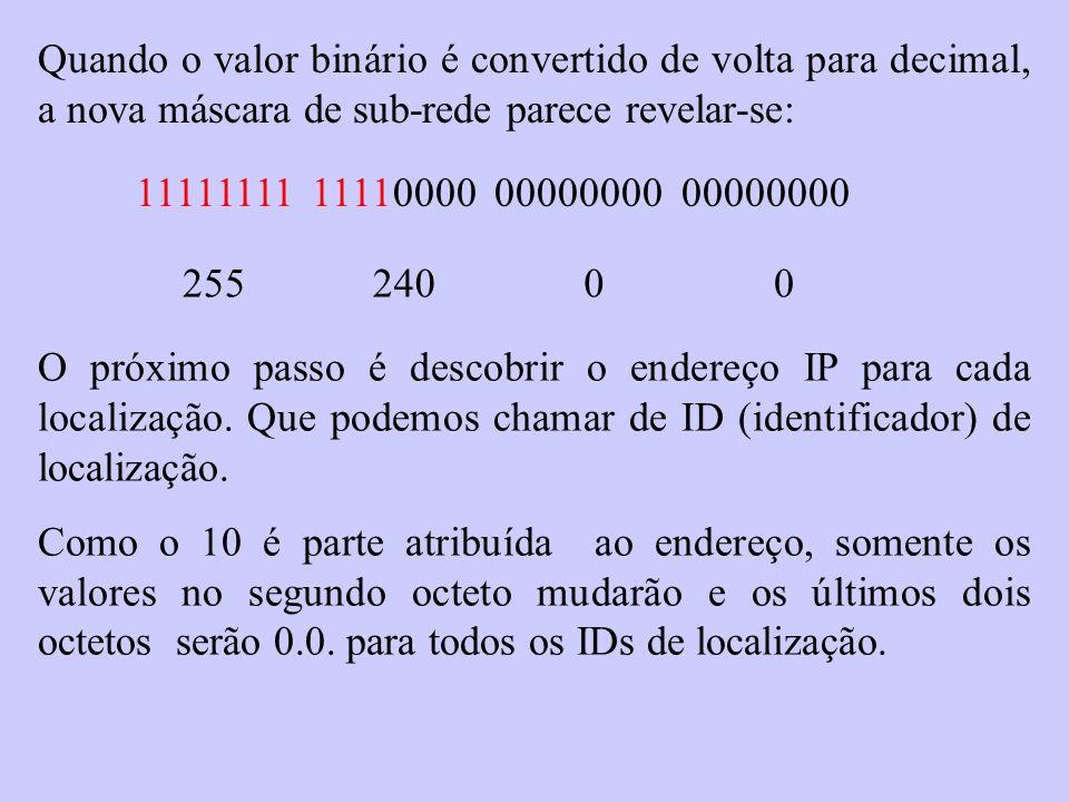 Quando o valor binário é convertido de volta para decimal, a nova máscara de sub-rede parece revelar-se: 11111111 11110000 00000000 00000000 25524000