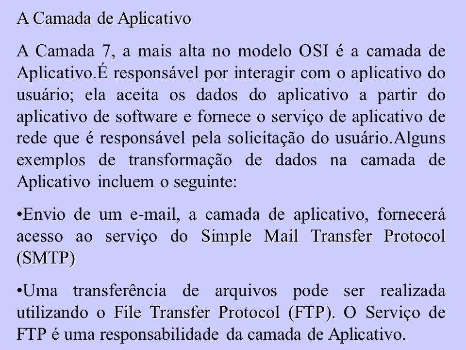 A Camada de Aplicativo A Camada 7, a mais alta no modelo OSI é a camada de Aplicativo.É responsável por interagir com o aplicativo do usuário; ela ace