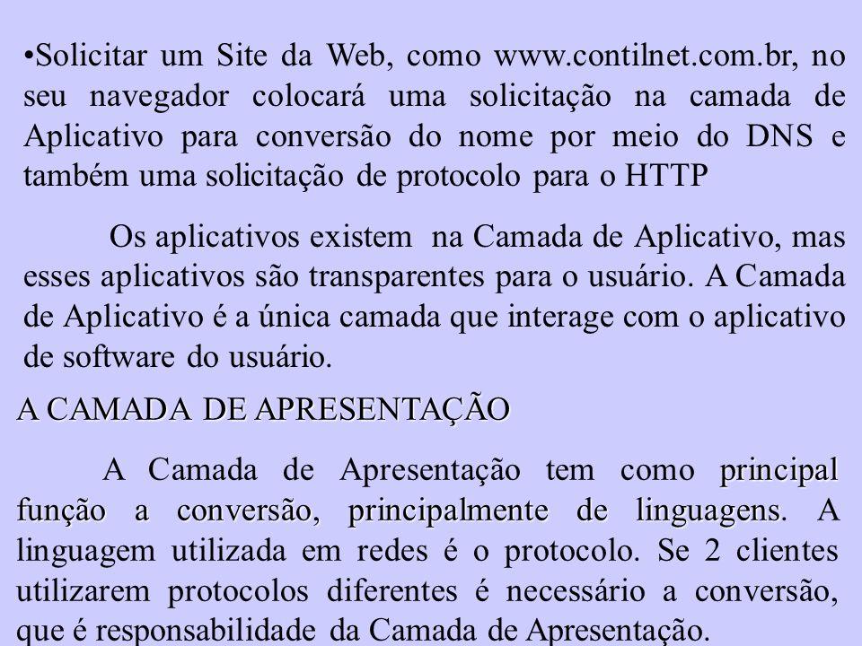 Solicitar um Site da Web, como www.contilnet.com.br, no seu navegador colocará uma solicitação na camada de Aplicativo para conversão do nome por meio