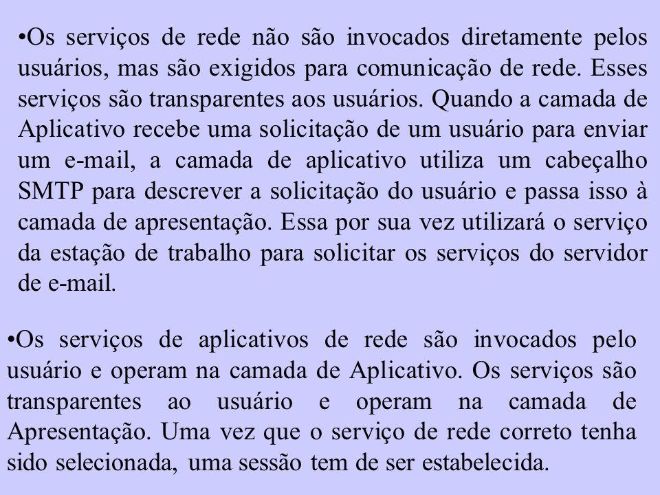 Os serviços de rede não são invocados diretamente pelos usuários, mas são exigidos para comunicação de rede. Esses serviços são transparentes aos usuá