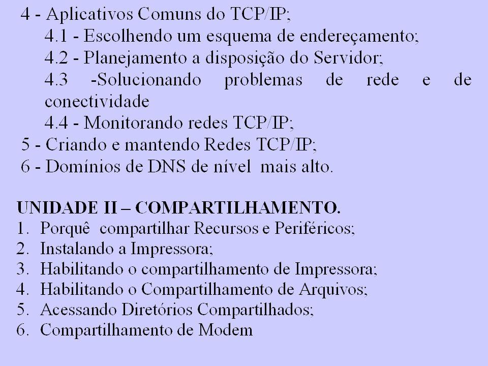 Física Rede Enlace Transporte Sessão Apresentação Aplicação Inter-Redes / Internet IP, o ICMP, o ARP e o RARP Interface com Rede Gateways ou roteadores.