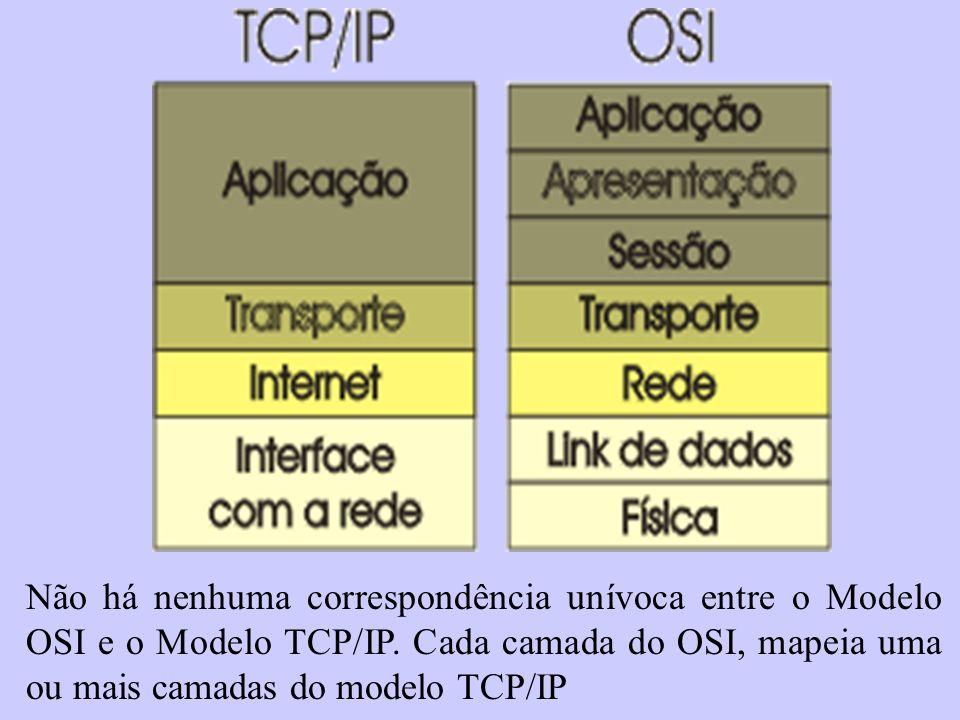 Não há nenhuma correspondência unívoca entre o Modelo OSI e o Modelo TCP/IP. Cada camada do OSI, mapeia uma ou mais camadas do modelo TCP/IP