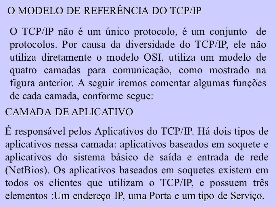 O MODELO DE REFERÊNCIA DO TCP/IP O TCP/IP não é um único protocolo, é um conjunto de protocolos. Por causa da diversidade do TCP/IP, ele não utiliza d