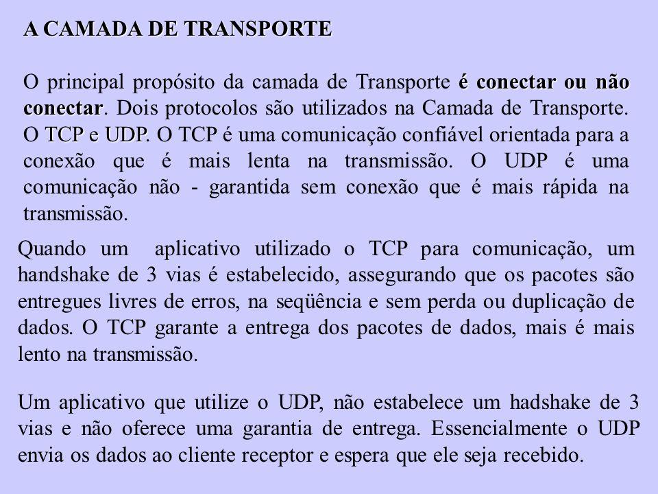 A CAMADA DE TRANSPORTE é conectar ou não conectar TCP e UDP O principal propósito da camada de Transporte é conectar ou não conectar. Dois protocolos