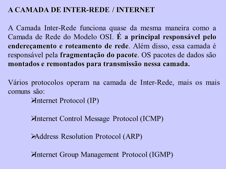 A CAMADA DE INTER-REDE / INTERNET É a principal responsável pelo endereçamento e roteamento de rede fragmentação do pacote montados e remontados para
