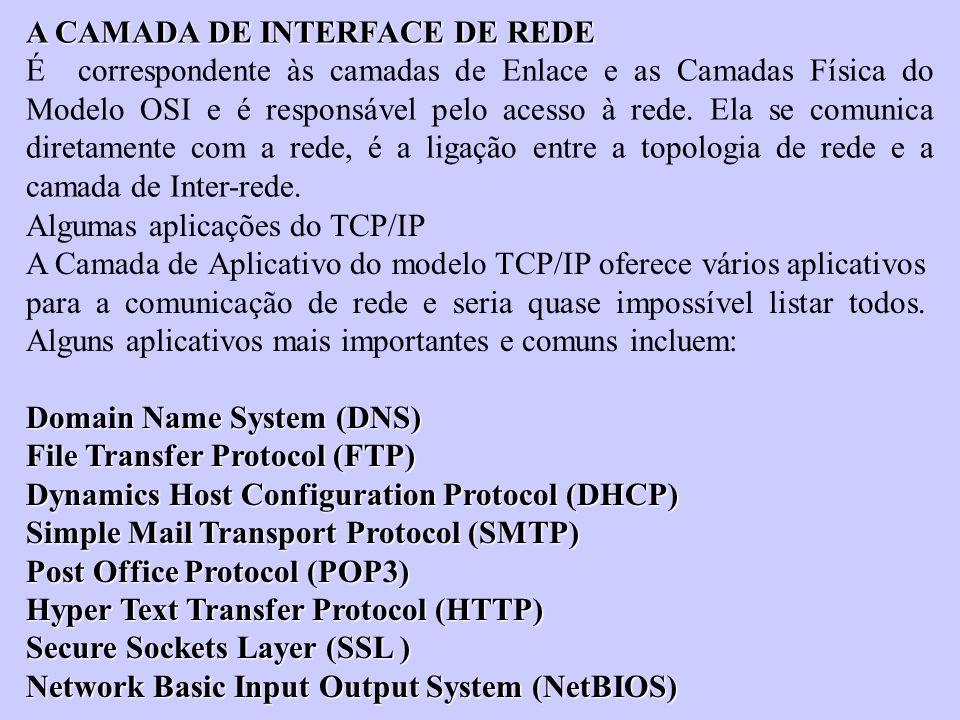 A CAMADA DE INTERFACE DE REDE É correspondente às camadas de Enlace e as Camadas Física do Modelo OSI e é responsável pelo acesso à rede. Ela se comun
