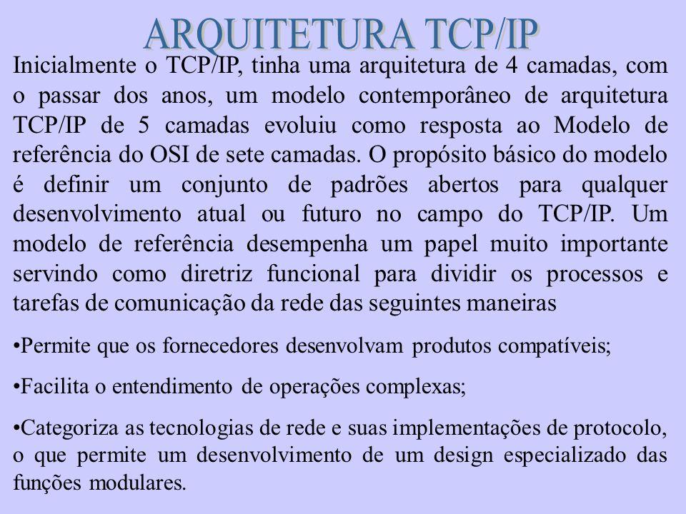 Inicialmente o TCP/IP, tinha uma arquitetura de 4 camadas, com o passar dos anos, um modelo contemporâneo de arquitetura TCP/IP de 5 camadas evoluiu c