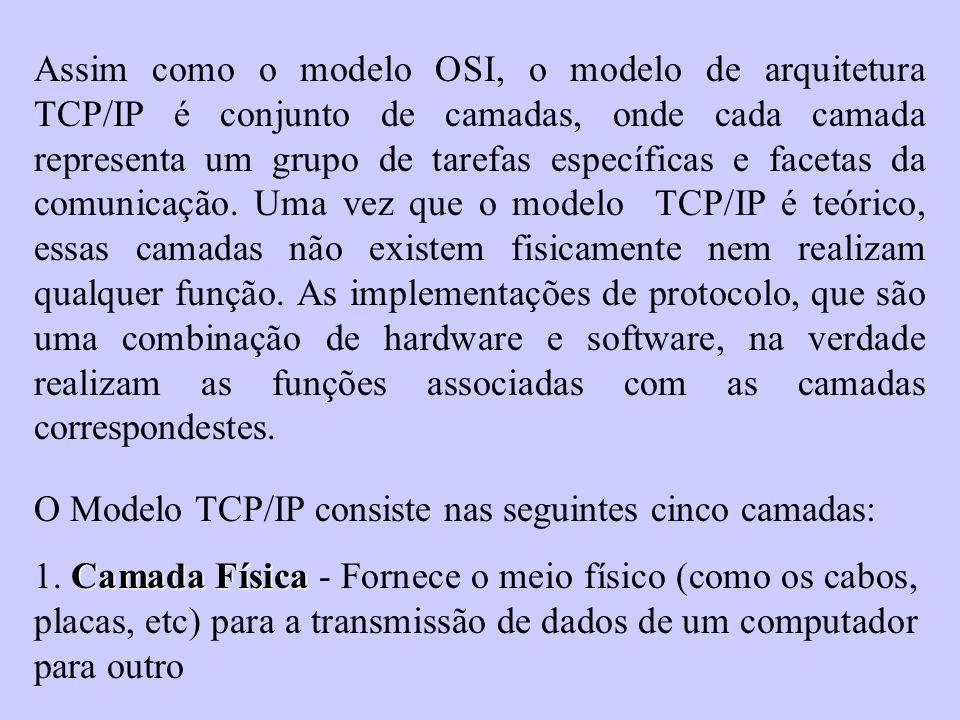 Assim como o modelo OSI, o modelo de arquitetura TCP/IP é conjunto de camadas, onde cada camada representa um grupo de tarefas específicas e facetas d