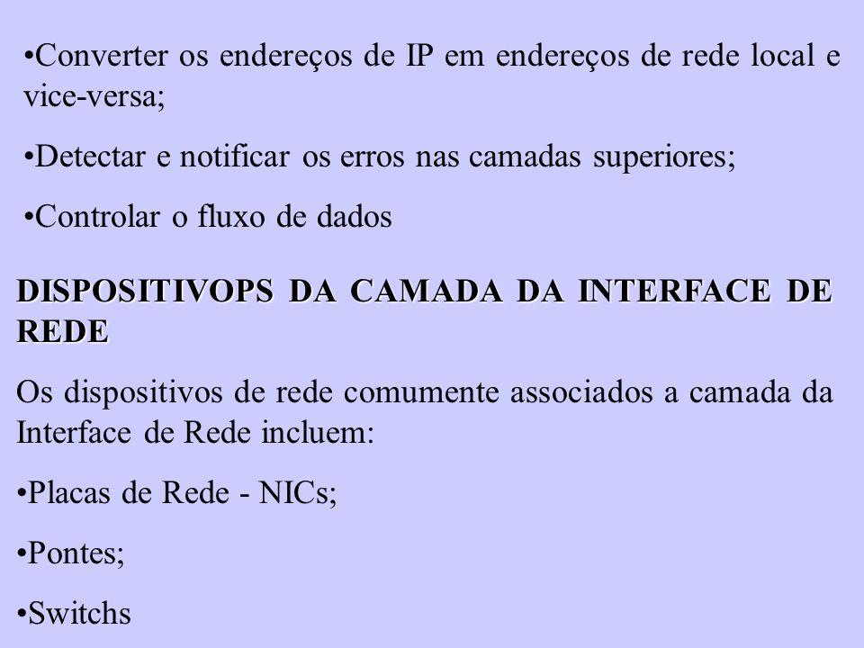 Converter os endereços de IP em endereços de rede local e vice-versa; Detectar e notificar os erros nas camadas superiores; Controlar o fluxo de dados