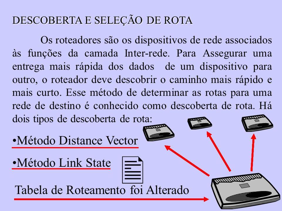 DESCOBERTA E SELEÇÃO DE ROTA Os roteadores são os dispositivos de rede associados às funções da camada Inter-rede. Para Assegurar uma entrega mais ráp