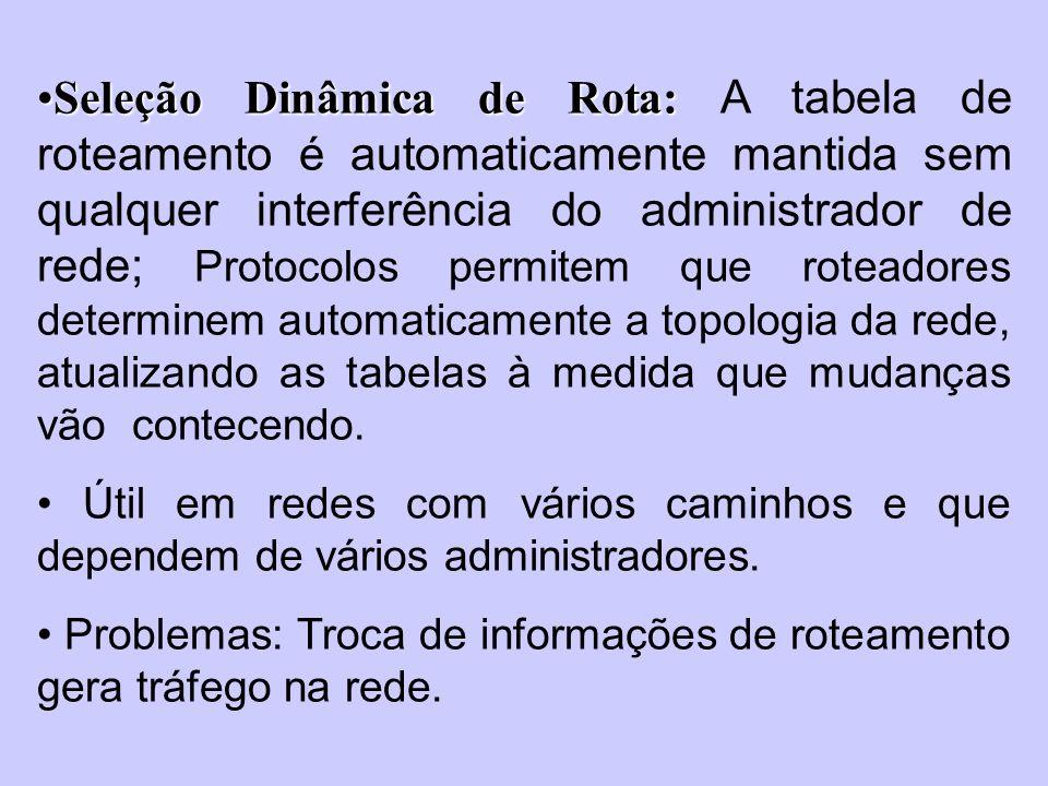 Seleção Dinâmica de Rota:Seleção Dinâmica de Rota: A tabela de roteamento é automaticamente mantida sem qualquer interferência do administrador de red