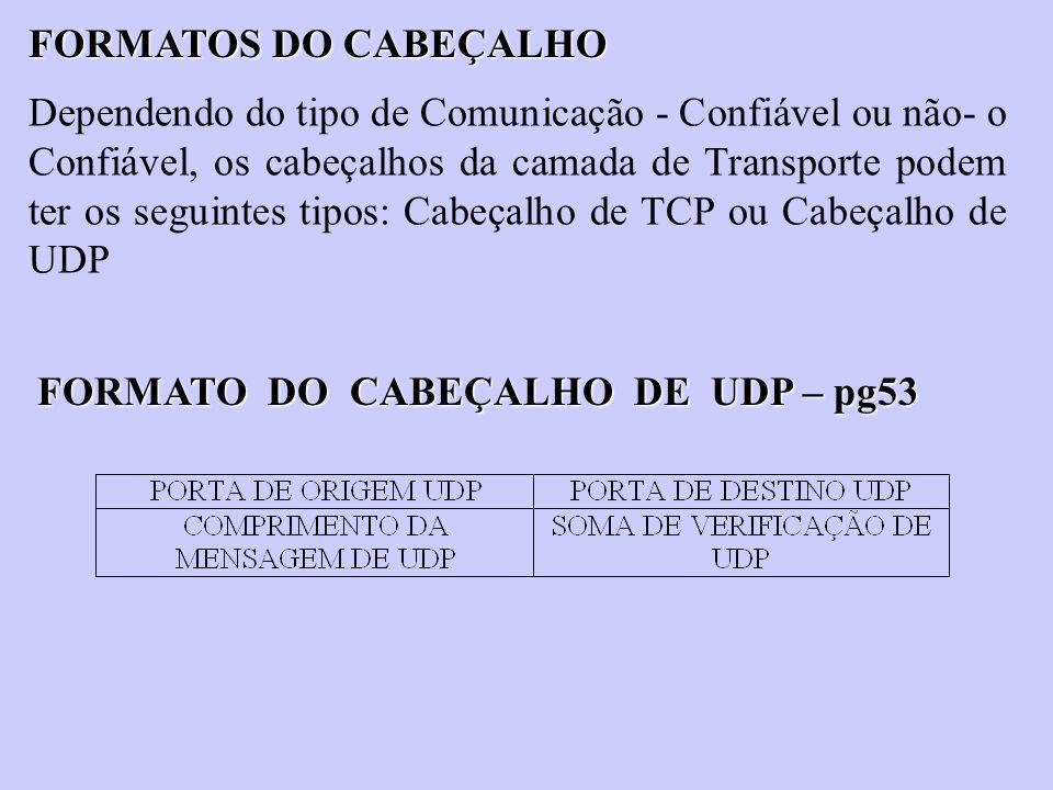 FORMATOS DO CABEÇALHO Dependendo do tipo de Comunicação - Confiável ou não- o Confiável, os cabeçalhos da camada de Transporte podem ter os seguintes
