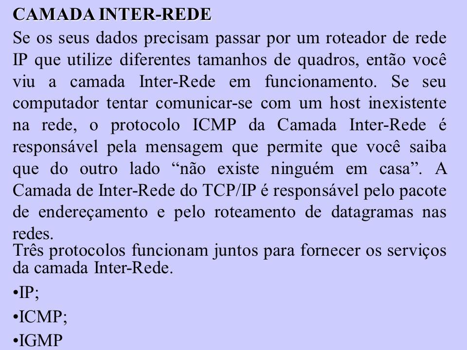 CAMADA INTER-REDE Se os seus dados precisam passar por um roteador de rede IP que utilize diferentes tamanhos de quadros, então você viu a camada Inte