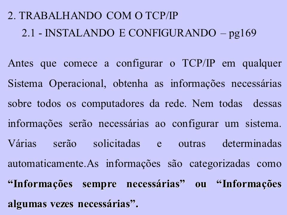 2. TRABALHANDO COM O TCP/IP 2.1 - INSTALANDO E CONFIGURANDO – pg169 Informações sempre necessárias ou Informações algumas vezes necessárias. Antes que