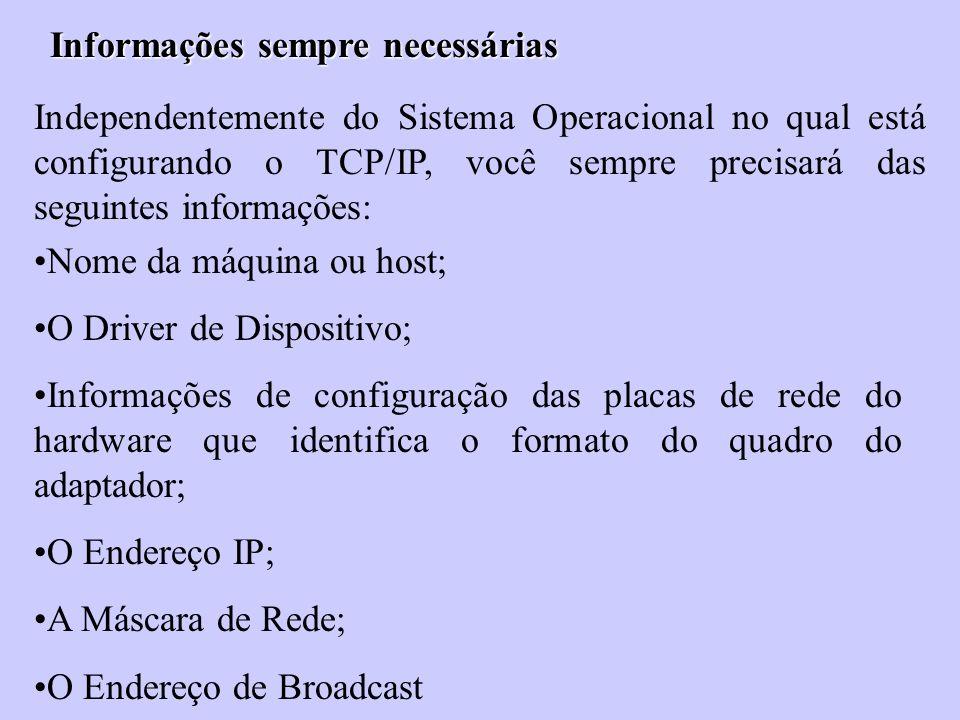 Informações sempre necessárias Independentemente do Sistema Operacional no qual está configurando o TCP/IP, você sempre precisará das seguintes inform