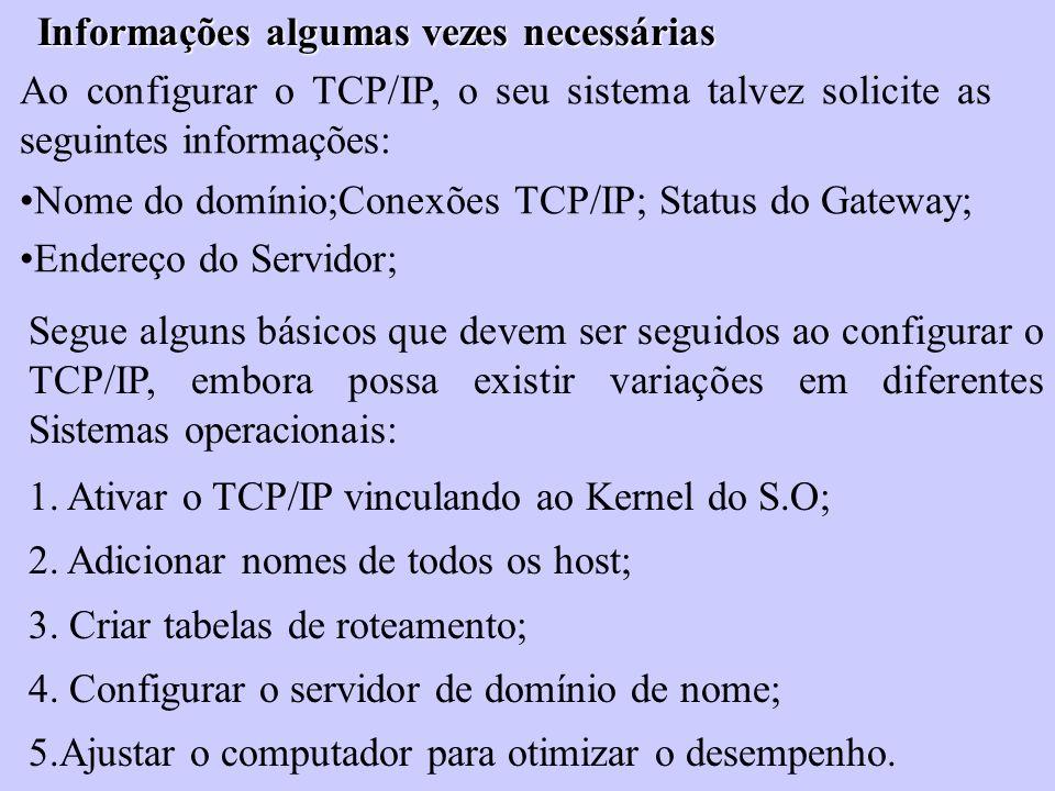 Informações algumas vezes necessárias Ao configurar o TCP/IP, o seu sistema talvez solicite as seguintes informações: Nome do domínio;Conexões TCP/IP;