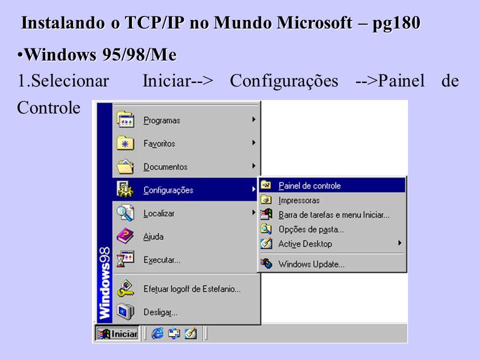Instalando o TCP/IP no Mundo Microsoft – pg180 Windows 95/98/MeWindows 95/98/Me 1.Selecionar Iniciar--> Configurações -->Painel de Controle