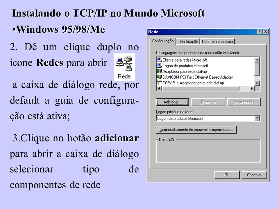 Instalando o TCP/IP no Mundo Microsoft Windows 95/98/MeWindows 95/98/Me Redes 2. Dê um clique duplo no ícone Redes para abrir a caixa de diálogo rede,