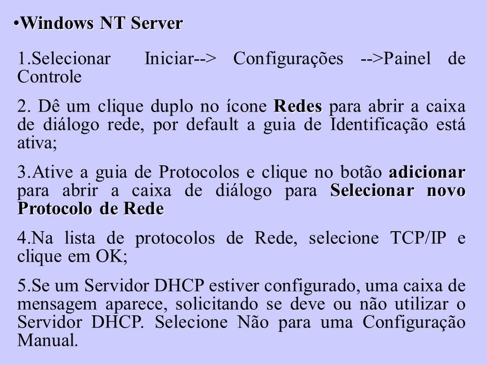 Windows NT ServerWindows NT Server 1.Selecionar Iniciar--> Configurações -->Painel de Controle Redes 2. Dê um clique duplo no ícone Redes para abrir a