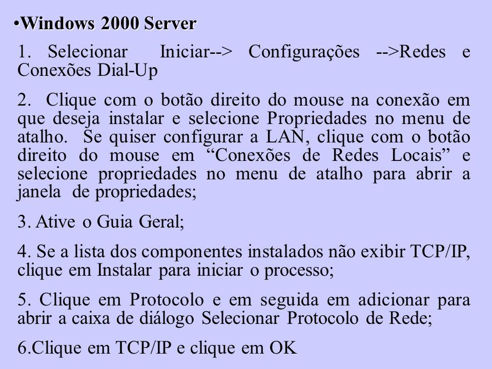 Windows 2000 ServerWindows 2000 Server 1. Selecionar Iniciar--> Configurações -->Redes e Conexões Dial-Up 2. Clique com o botão direito do mouse na co