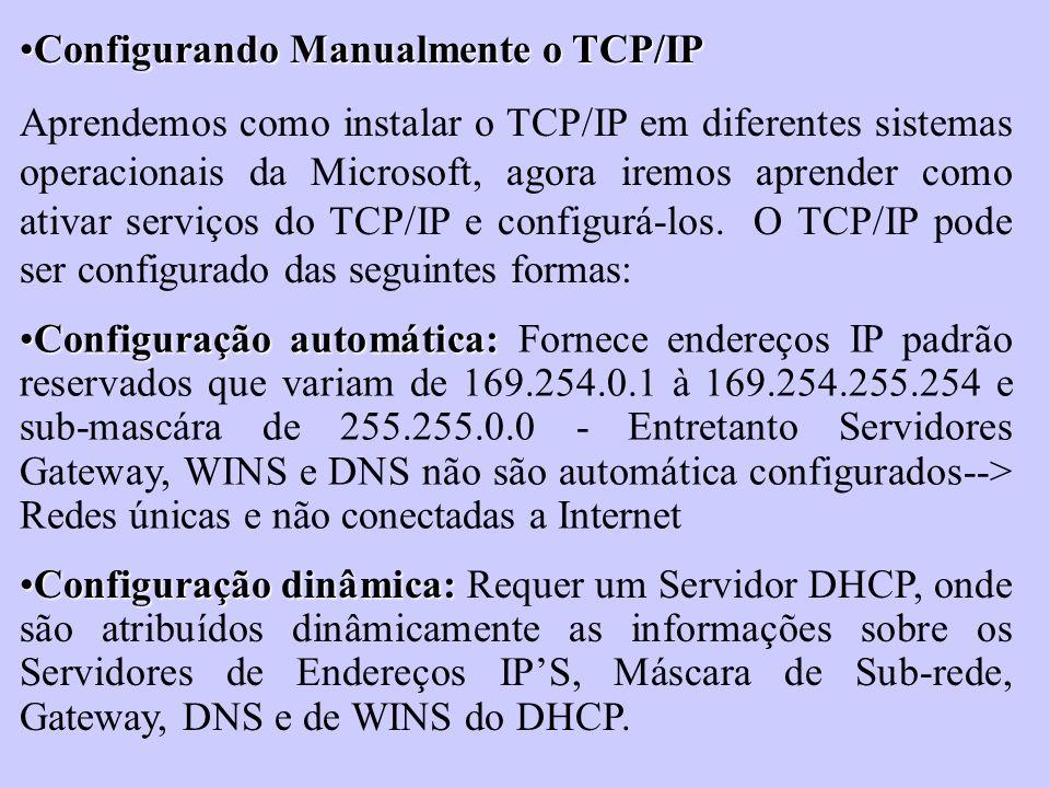 Configurando Manualmente o TCP/IPConfigurando Manualmente o TCP/IP Aprendemos como instalar o TCP/IP em diferentes sistemas operacionais da Microsoft,