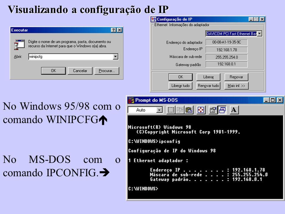 Visualizando a configuração de IP No Windows 95/98 com o comando WINIPCFG No MS-DOS com o comando IPCONFIG.