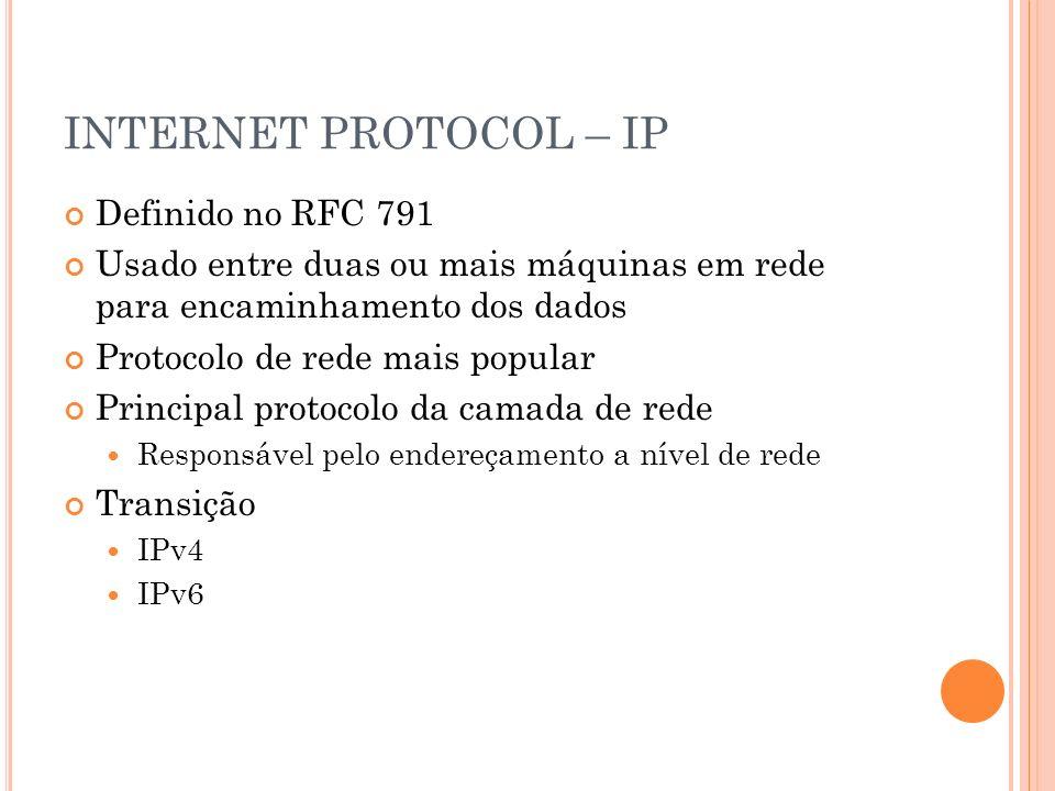 INTERNET PROTOCOL – IP Definido no RFC 791 Usado entre duas ou mais máquinas em rede para encaminhamento dos dados Protocolo de rede mais popular Prin