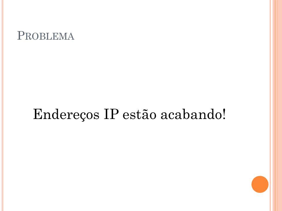 P ROBLEMA Endereços IP estão acabando!