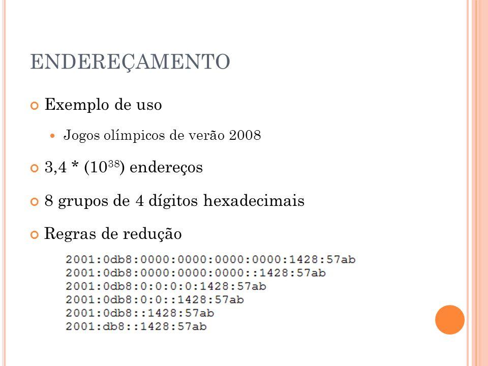 ENDEREÇAMENTO Exemplo de uso Jogos olímpicos de verão 2008 3,4 * (10 38 ) endereços 8 grupos de 4 dígitos hexadecimais Regras de redução