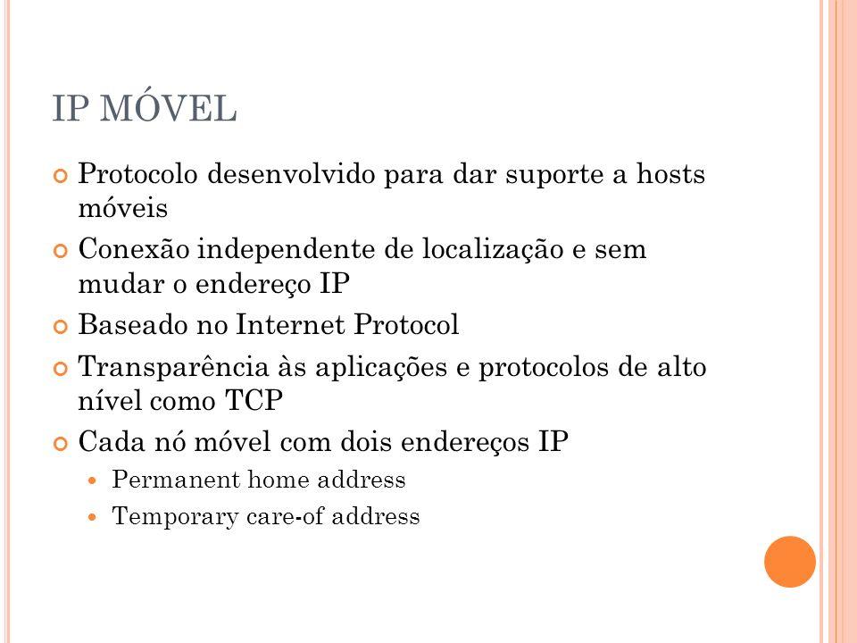 IP MÓVEL Protocolo desenvolvido para dar suporte a hosts móveis Conexão independente de localização e sem mudar o endereço IP Baseado no Internet Prot