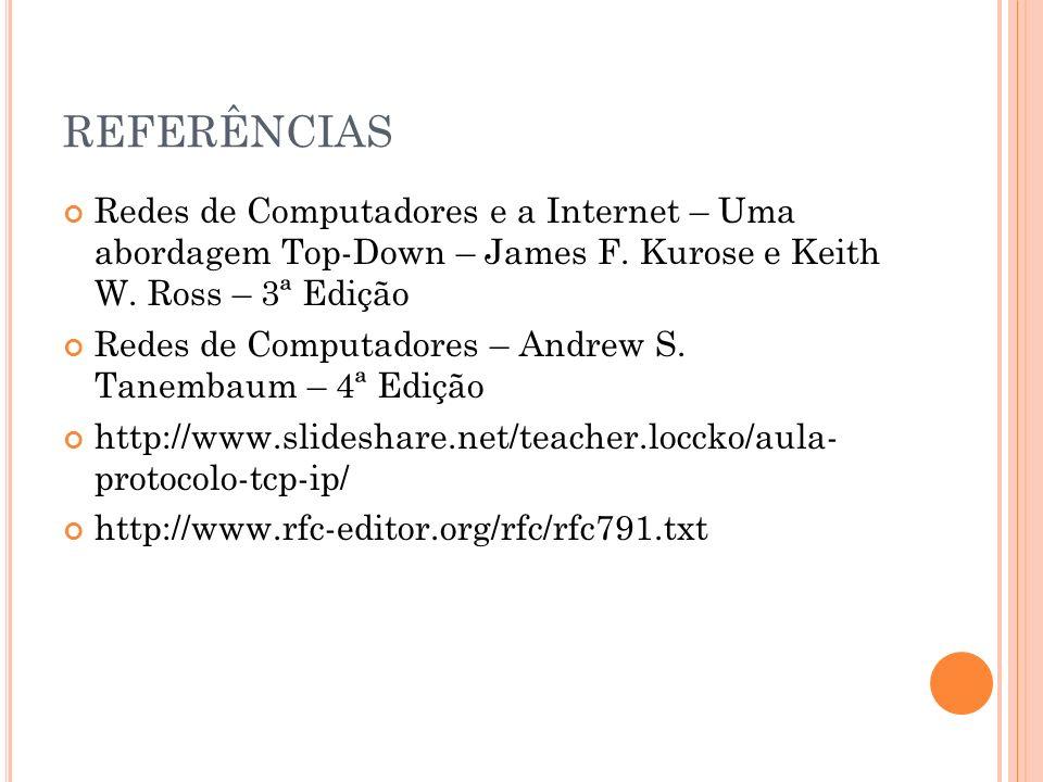 REFERÊNCIAS Redes de Computadores e a Internet – Uma abordagem Top-Down – James F. Kurose e Keith W. Ross – 3ª Edição Redes de Computadores – Andrew S