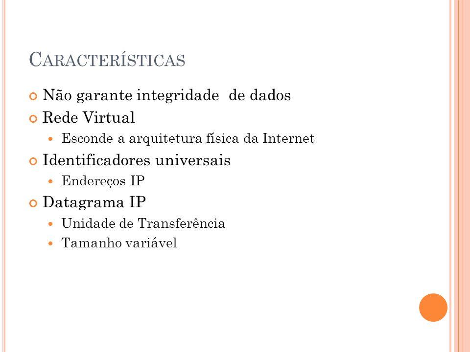 C ARACTERÍSTICAS Não garante integridade de dados Rede Virtual Esconde a arquitetura física da Internet Identificadores universais Endereços IP Datagr