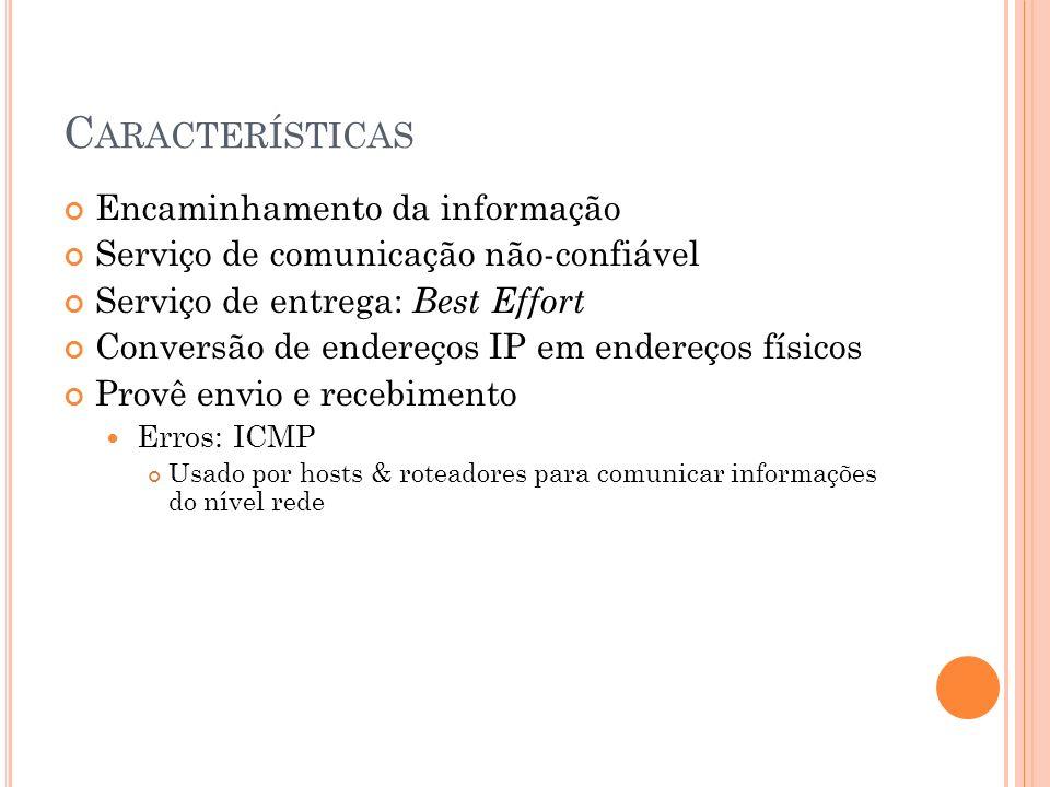 C ARACTERÍSTICAS Encaminhamento da informação Serviço de comunicação não-confiável Serviço de entrega: Best Effort Conversão de endereços IP em endere