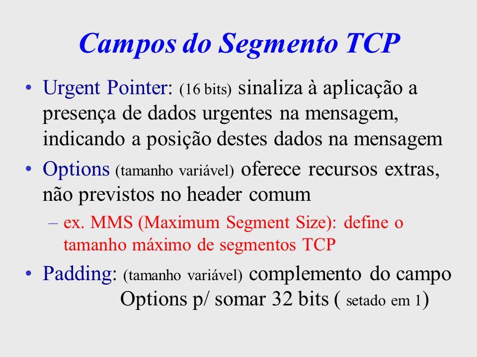 Campos do Segmento TCP Data: o TCP decide qual o tamanho do segmento no estabelecimento da conexão pode acumular várias escritas em um único segmento ou dividir os dados de uma única escrita em vários segmentos